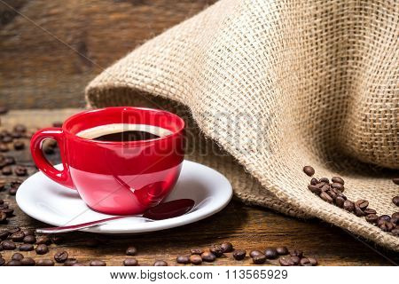 Coffee Cup With Coffeebeans And Gunny Textile