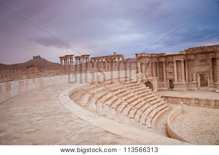 Amphitheatre At The Ancient City Of  Palmyra, Syrian Desert