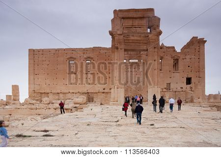 Visitors In The Ruins Of The Ancient City Of Palmyra, Syrian Desert