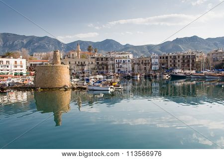 Old Harbour Of  Kyrenia, Island Of Cyprus, With The Old Lighthouse In View