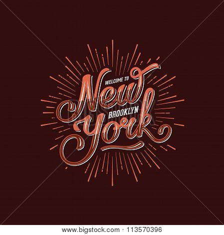 New York Lettering Brown