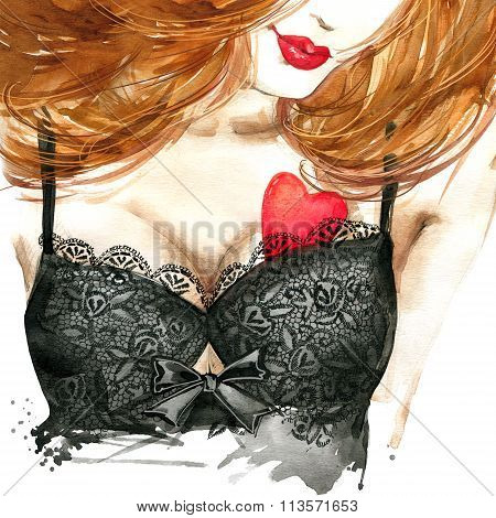 Valentine day heart and beautiful woman watercolor.