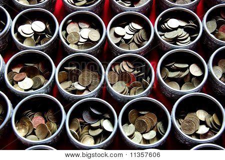 Money in tray