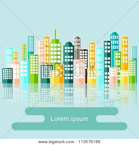 Colorful Abstract City Skyline Vector.