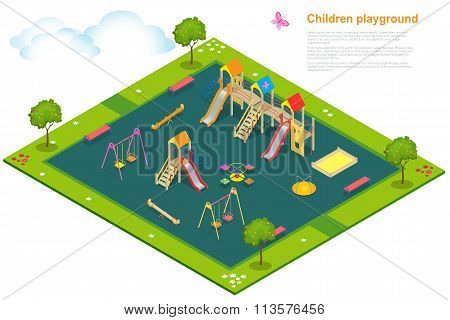 Children playground. Isometric vector illustration for infographics. Swing carousel sandpit slide rocker rope ladder bench. poster