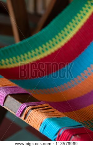 Closeup of Colorful deck chair