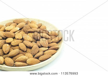 Plate Of Almond Isolated On White Background