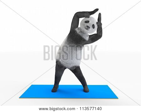 personage bends side body with raised paws
