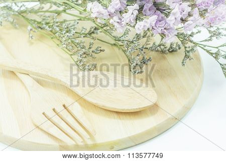 Wooden Set Of Food Utensil And Static Flower