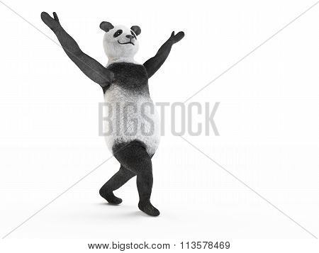animal character personage panda dancing modern