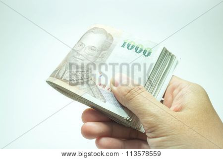 Hand Hold On Thai Money Banknote