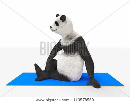 animal character personage panda doing yoga