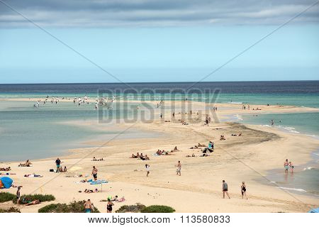 FUERTEVENTURA, SPAIN - SEPTEMBER 14, 2015: The famous lagoon in Risco El Paso at Playas de Sotavento Fuerteventura