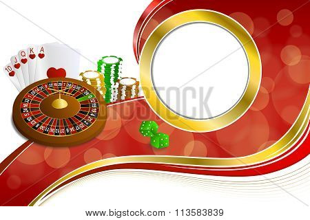 Background abstract red gold casino roulette cards chips craps frame gold illustration vector