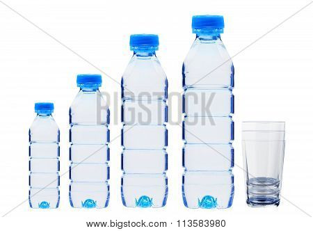 Blue Bottles With Water And Glasses Isolated On White