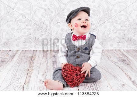 Baby With Red Kiss And Heart