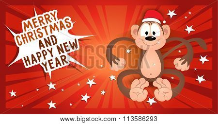 Greeting Card Merry Christmas And Happy New Year With Monkey In Santa's Cap.