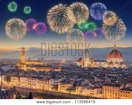 Fireworks under Arno River and Ponte Vecchio
