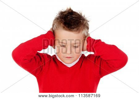 Little kid covering the ears isolated on a white background