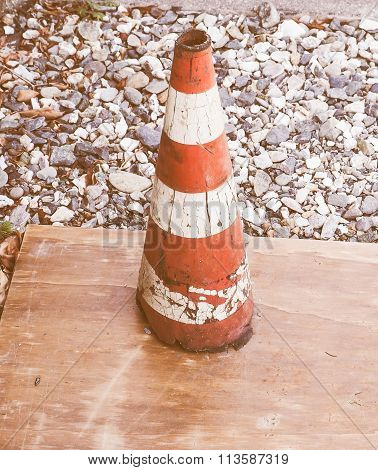 Traffic Cone Sign Vintage