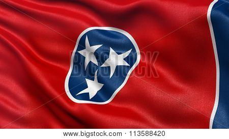 US state flag of Tennessee with great detail waving in the wind.
