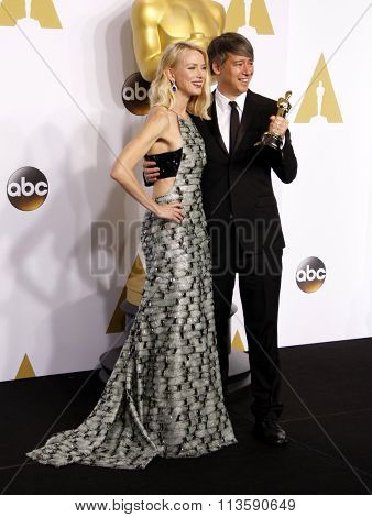 Naomi Watts and Tom Cross at the 87th Annual Academy Awards - Press Room held at the Loews Hollywood Hotel in Los Angeles, USA February 22, 2015.