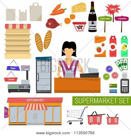 Vector set supermarket flat icons