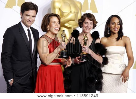 Jason Bateman, Kerry Washington, Dana Perry and Ellen Goosenberg Kent at the 87th Annual Academy Awards - Press Room held at the Loews Hollywood Hotel in Los Angeles, USA on February 22, 2015.