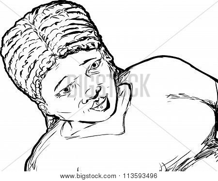 Outline Of Grinning Young Woman
