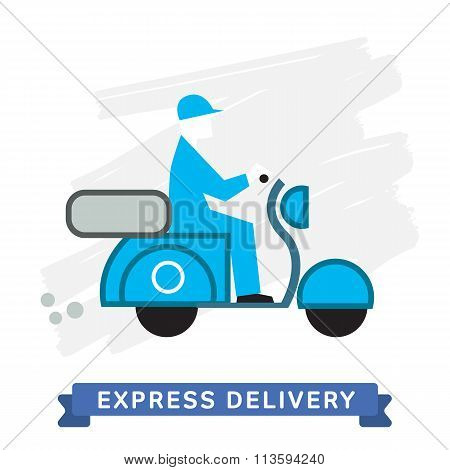 Scooter Delivery. Delivery boy. Express delivery situation. Fast Delivery on Scooter. Vector Icon of Delivery Scooter. Express Delivery of Goods. Delivery Service.  Express delivery sign. Delivery service. Delivery man.