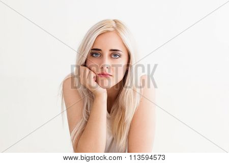 Sad Beautiful Young Blond Woman Bored