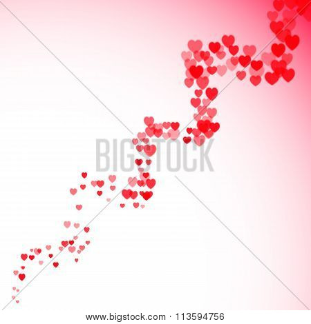Valentines Day card with blurred hearts twister