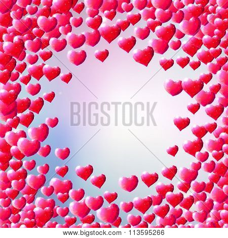 Valentines Day background with scattered low poly gem hearts poster