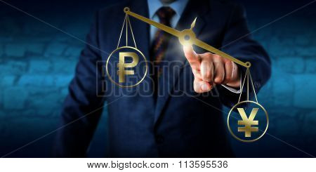 Japanese yen or Chinese yuan outmatching the Russian ruble on a virtual golden pair of scales. Business concept for bilateral trade national currency in the interbank market and purchasing power. poster