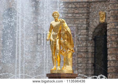 Peterhof. Russia. The Ganymede Sculpture