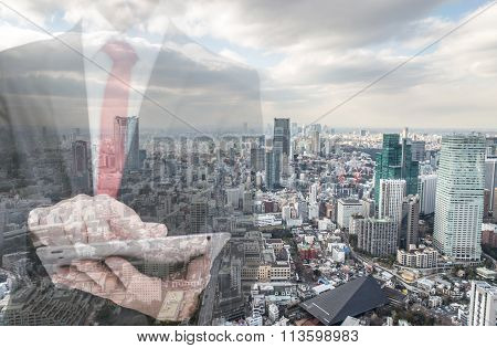 Double Exposure With Businessman And City Skyline