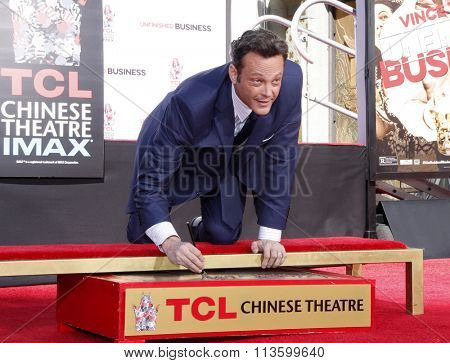 Vince Vaughn Hand-Footprints Ceremony held at the TCL Chinese Theatre in Los Angeles, USA on March 4, 2015.