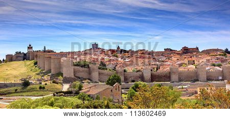 Avila Castle Walls Ancient Medieval City Cityscape Castile Spain