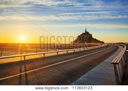 Road To Mont Saint Michel At Sunset
