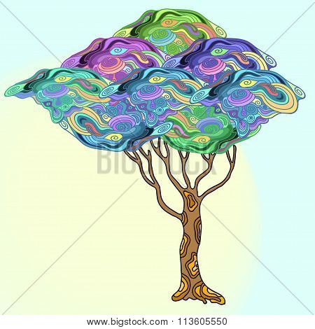 Abstract  Doodle  Tree With Psychodelic Patterns