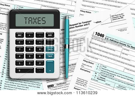 Calculator With Tax Form 1040 Lying On Desk