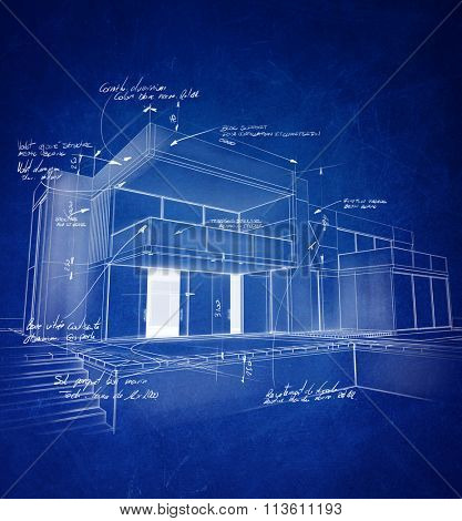 Technical architecture drawing with chalky white strokes on a blue background