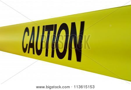 Caution sign on yellow caution tape on white background poster