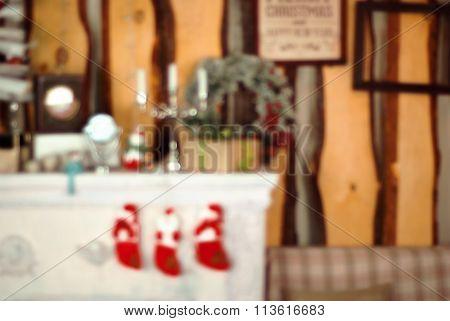 Holiday decor blurred