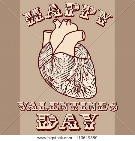 Sarcastic Valentine Card With Anatomic Heart