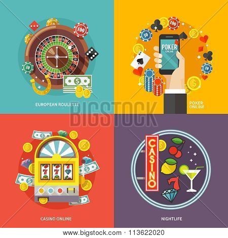 poker vector flat illustrations