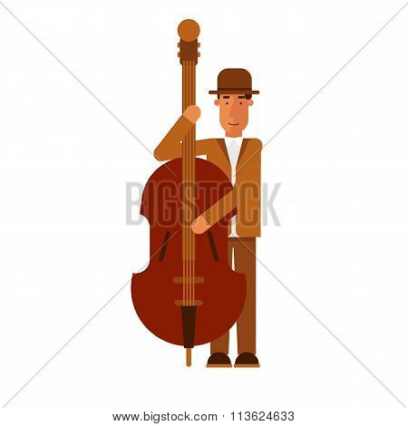 Jazz man playing contra-bass