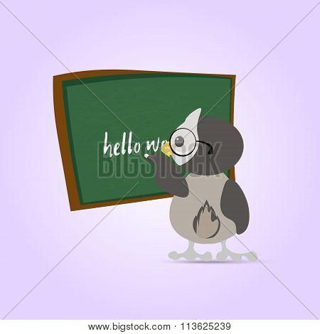 Green Chalkboard For School. Cartoon Chalkboard And Owl Teacher In Glasses Writes On It