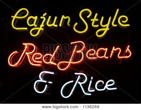 Cajun Style Red Beans & Rice Neon Sign
