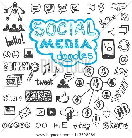 Social Media Doodles Hand Drawn Design Elements